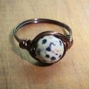 Jewelry - Handmade Dalmatian Jasper Wire Ring